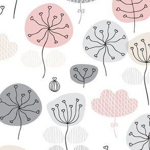 Pastel pink and gray poppy flower garden spring blossom fresh illustration print