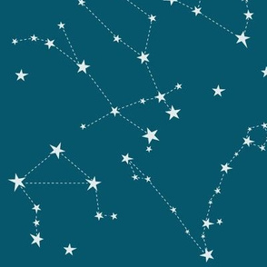stars in the zodiac constellations on blue