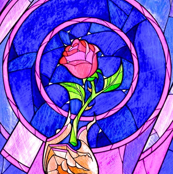 Stained Glass Rose In Hand