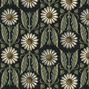 Art Nouveau Floral on Black with Green