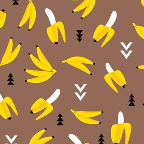 Cool retro banana geometric arrows illustration kids print ocher yellow