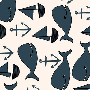 nautical whales // railroad cream and blue whales kids cute whale nursery fabric