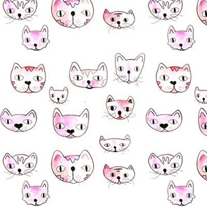 Cute watercolor kitten print adorable cats illustration for kids in pink