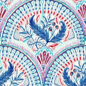 leafy fish scale doodle in red and blue