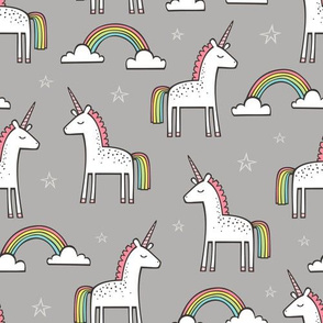 Cute Unicorn Rainbow in Grey
