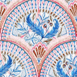 Fish scale doodle in coral red, cobalt blue and umber
