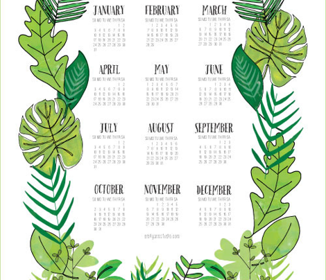 Botanical 2016 Tea Towel Calendar