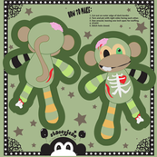 "5"" Zombie Monkey Cut and Sew Pillow Doll KeyChain (test swatch)"