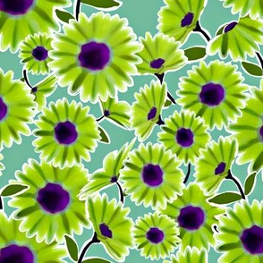 Dark Aqua Background with Lime Green Daisy Pattern