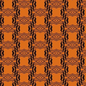 Modern Tribal in Black Over Orange