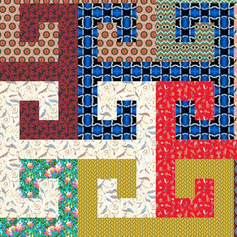 Tesselating Lots of T Greek Key Style 24in