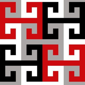 Tesselating T Greek Key Red Black Gray White