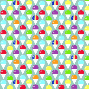 Rainbow snow cones on blue