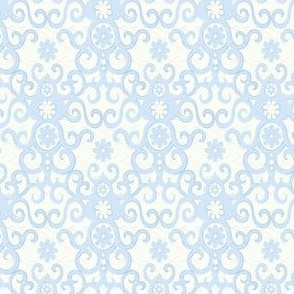 light blue and ivory damask