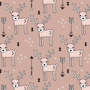 Adorable woodland reindeer illustration kids pattern design in soft gender neutral beige