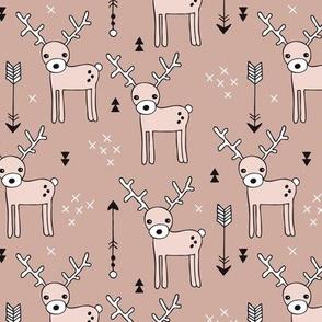 Adorable woodland reindeer illustration kids pattern design in soft gender neutral beige
