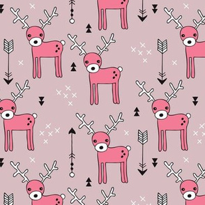Adorable woodland reindeer and arrows illustration kids pattern design in soft gender soft violet pink