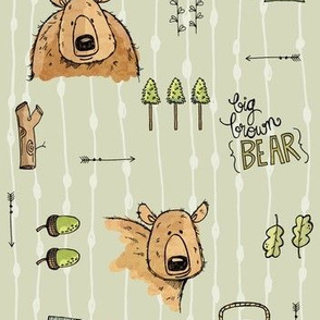 Bears and Things, grey/green