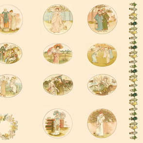 Kate Greenaway Language of Flowers  quilt blocks & border 2