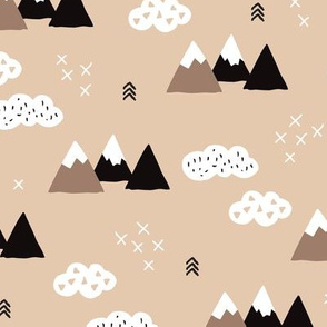 Cool scandinavian winter wonder woodland theme with clouds arrows and mountain peak snow theme vintage gender neutral