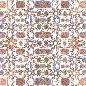 Tan rust  flower  inllay repeat pattern