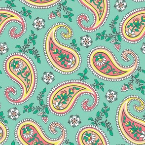 Sweet Paisley on Green