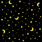 Moon and Stars Celestial Black