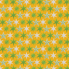 Green and platinum stars on mellow yellow by Su_G