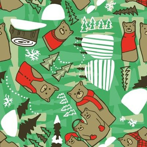 Winter Bears Green