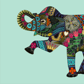 asian elephant aqua tea towel