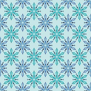 Crystal Snowflakes Icy Blues