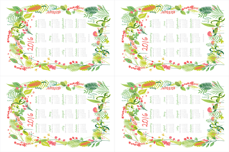 Garden Foliage 2016 Tea Towel Calendar