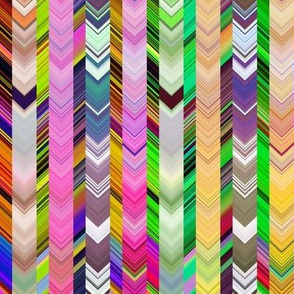 CRAZY CHEVRONS ARROWS  BRIGHT CRAZY FLORAL MEADOW