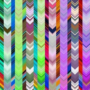 CRAZY CHEVRONS ARROWS BRIGHT Green Meadow and Purple Autumn