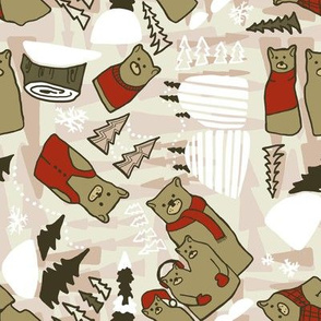 Christmas bears in pinks