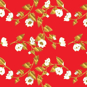 Red and Gold Chinoiserie Vines Large