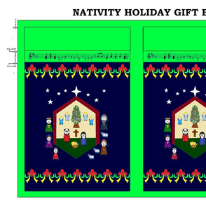 Nativity Holiday Gift Bag - green/navy