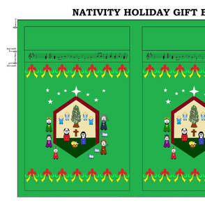 Nativity Holiday Gift Bag - green