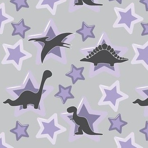 Baby dinosaurs with purple stars