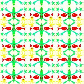 Green Lizards Red Fish