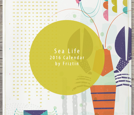 Sea Life 2016 Tea Towel Calendar by Friztin