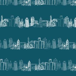 Detroit Landmarks Turquoise III Wide
