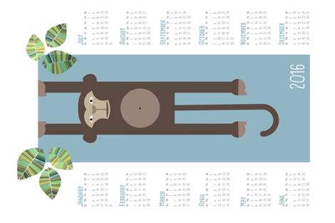 Tea towel 2016 monkey year