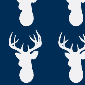 Deer SilhouetteLARGE SCALE White on Navy