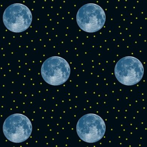 blue moon and fireflies on dark navy