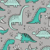 Dinosaurs on grey fabric caja design spoonflower for Grey dinosaur fabric