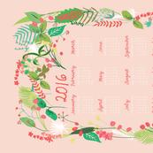 2016 Calendar Tea Towel Garden Foliage in Pink