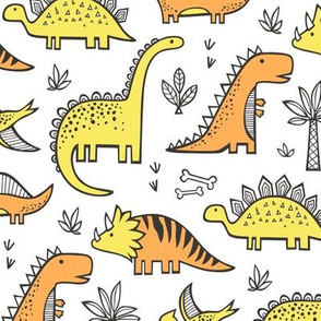 Dinosaurs in Orange Yellow