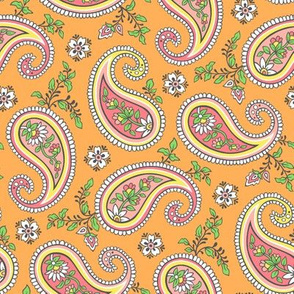 Sweet Paisley on Orange