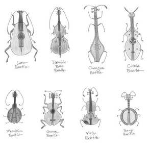 greyscale stringed beetles